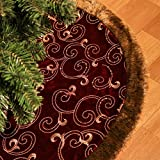 Valery Madelyn 48' Luxury Burgundy and Gold Christmas Tree Skirt,Themed with Christmas Ornaments (Not Included)