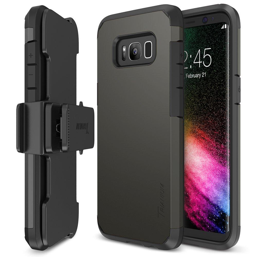 Galaxy S8 Plus Case, Trianium [Duranium Series] Samsung Galaxy s8 Plus Holster / s8+ Belt Clip Heavy Duty Premium Protective Kickstand Extreme Protection Shock Absorption Cover 2017 - Gunmetal