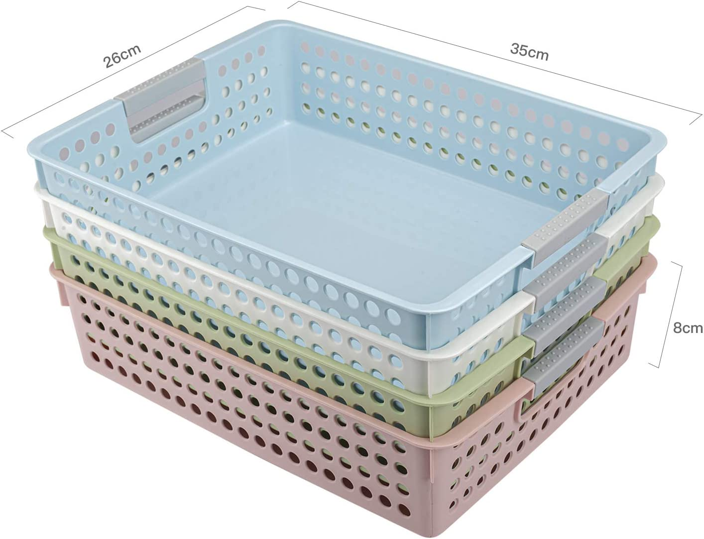 Classroom Office File Holder Office,Home,Kitchen Xuheng Pack of 4 Paper Organizer Basket with Box Paper Clips Binder Clips Plastic Baskets Organization Trays with Handles for School