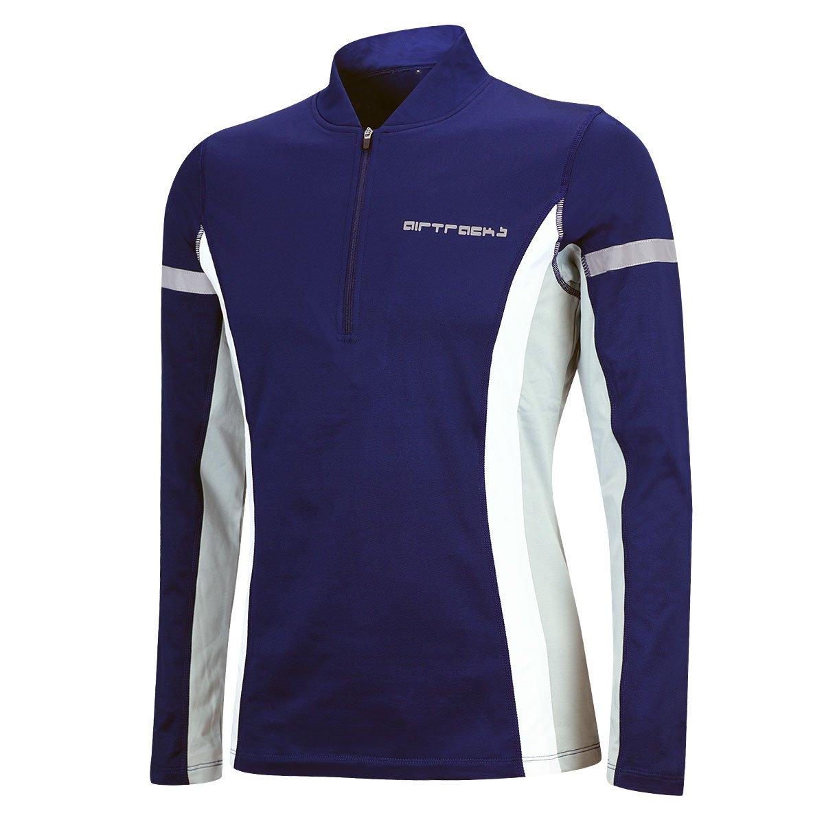 Airtracks funzionale invernale maglia da corsa per uomo o donna alta visibilità in pile con maniche lunghe, nero