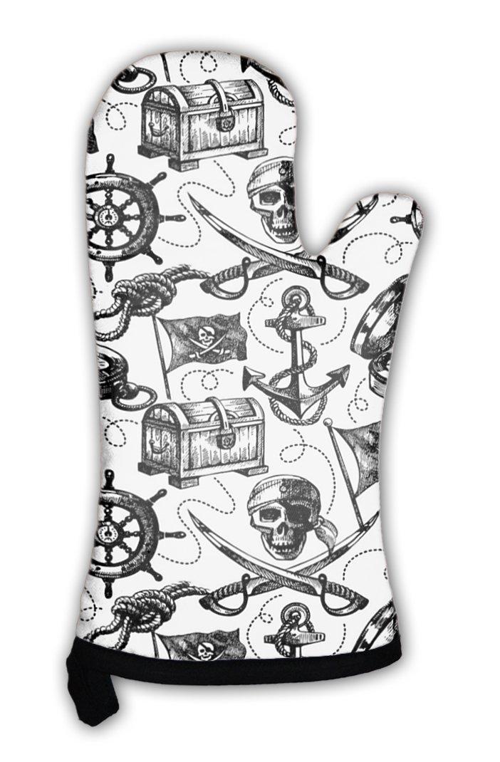 Gear新しいオーブンミット, Hand Drawn海賊パターン、gn2680 Various GN-OM1-2680-1 B01E7R9U34  マルチカラー Various
