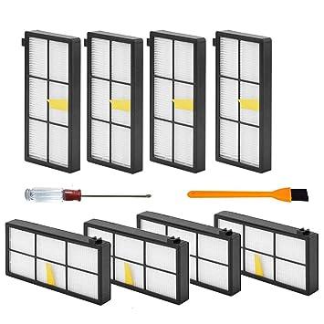 SogYupk - Piezas de aspiradora para iRobot Roomba 980 880 980 960 800 870 (800, 900 Series) Incluye 1 Cepillo de Limpieza 8 filtros Roomba: Amazon.es: Hogar