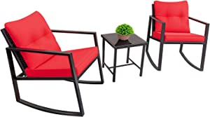 Devoko 3 Piece Rocking Bistro Set Wicker Patio Outdoor Furniture Porch Chairs Conversation Sets with Glass Coffee Table (Red)