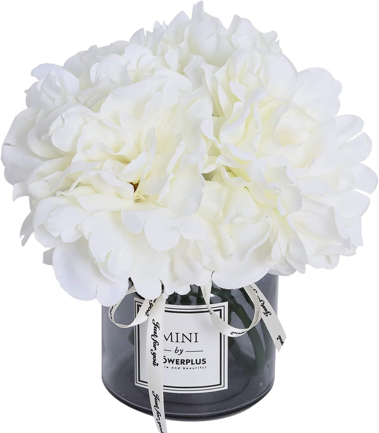 Artificial Hydrangea and Glass vase Decoration, Ins Style Artificial Flower Glass Bottle Set, Suitable for Living Room, Dining Table, Office, Wedding, Hotel Banquet and Other Home Decoration. (Beige)…