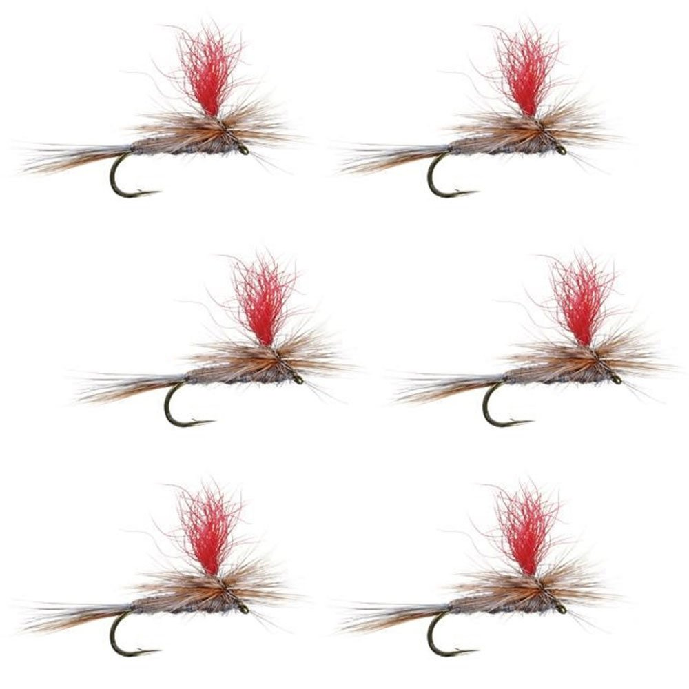 The Fly Fishing Place Hi-Visibility Parachute Adams Classic Trout Dry Fly Fishing Flies - Set of 6 Flies Size 16