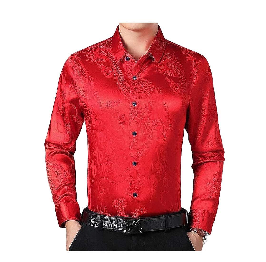 Macondoo Mens Top Classic Fit Faux Silk Button Down Long-Sleeve Shirt
