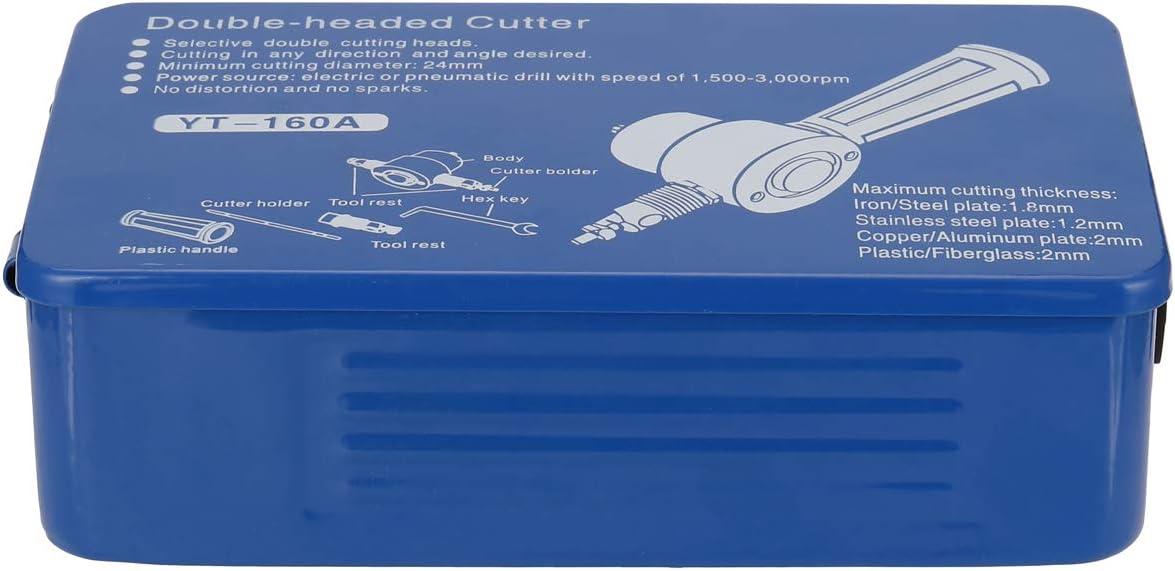 Caja de Hierro,Audio para Aautom/óvil Panel de Puerta KKmoon Corte de Chapa,Cortador de Chapa de Doble Cabeza,Accesorio de Taladro Ajustable de 360 Grados,Adecuado para Pl/ástico,Chapa