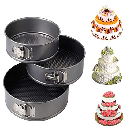 The Creative India Set of 3 Round Aluminium Non-Stick Backing Cake Moulds Pan Can be Used in Microwave Ovens (Black)
