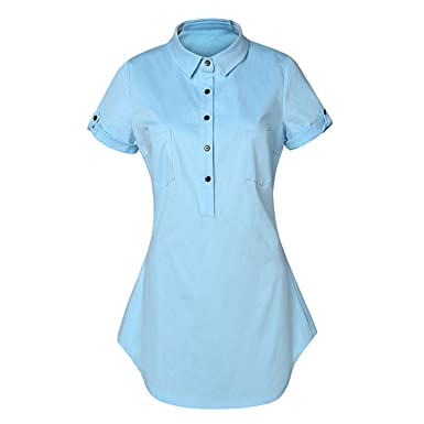 Eloise Isabel Fashion Mulheres céu azul moda botão frontal up turn down collar shirt dress manga
