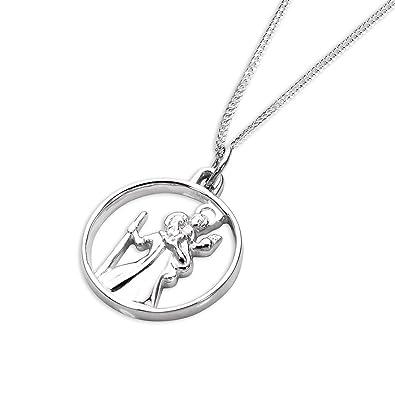 Collier et Pendentif Médaille de Saint-Christophe Ciselée (Ouverte) en Argent  925 1000 - 41 + 5 cm  Amazon.fr  Bijoux ad15de6fbc10