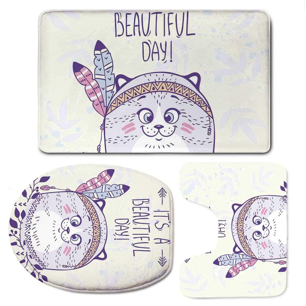 YOLIYANA Cat Durable Bathroom 3 Piece Mat Set,Stylish Native American Indian Hippie Cat with Ethnic Tribal Feathers Artsy Cartoon for Bathroom,F:20'' W x31 H,O:14'' Wx18 H,U:20'' Wx16 H