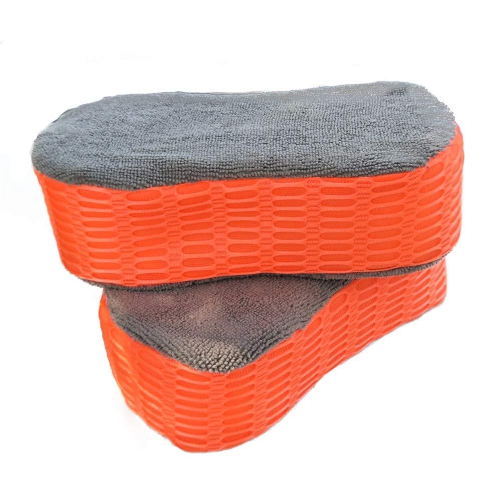 Car Washing Mitt 2-Piece Sandwich Three-Sided Car Wash Sponge Block, Orange Car Care Washing Tool