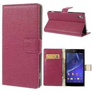 Bolsa de de caja del teléfono móvil del caso del tirón de negocios de parachoques de la cubierta de Sony Xperia Z2 piel de cocodrilo mirada de cocodrilo color de color rosa oscuro