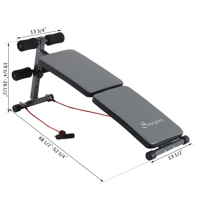 Soozier Folding Decline Sit Up Bench Adjustable Ab Exercise Crunch
