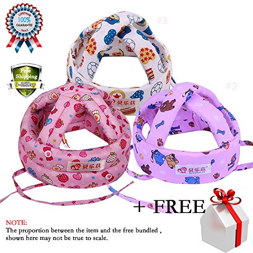 baby-toddler-safety-helmet-headguard-hats-cap-no-bumps-adjustable-for-kids-boys-girls-3-pack