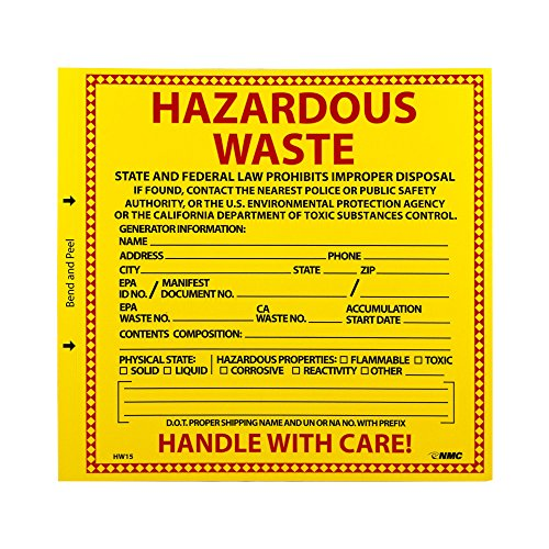 "NMC HW15 Hazardous Waste Container Label, ""HAZARDOUS WASTE CALIFORNIA"", 6"" Width x 6"" Height, Pressure Sensitive Vinyl, Red/Black on Yellow (Pack of 25)"