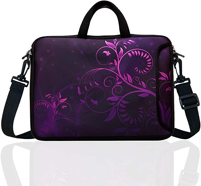 "10-Inch Laptop Shoulder Bag Sleeve Case with padded handle for 9.6"" 9.7"" 10"" 10.1"" 10.5"" Ipad/Netbook/Tablet/Reader (Purple)"