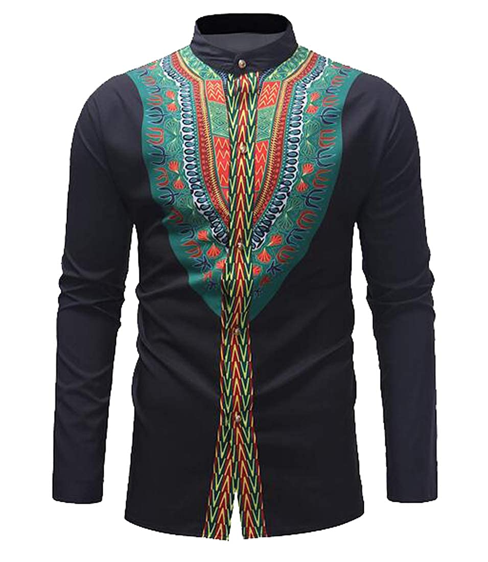 Fubotevic Mens Long Sleeve Luxury Slim Stand Collar African Print Dashiki Button Down Dress Work Shirt