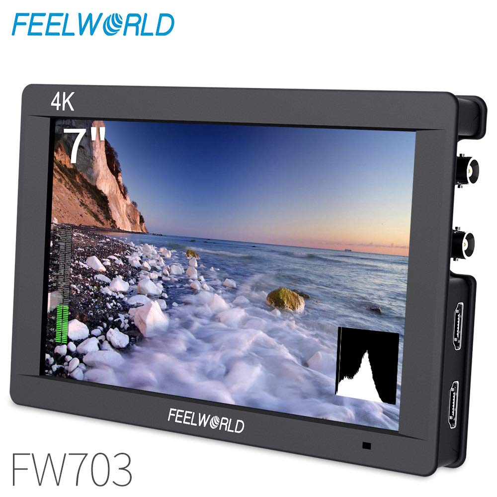 FEELWORLD FW703 7 Inch IPS 3G SDI 4K HDMI DSLR Monitor Full HD 1920x1200 On Camera Field Monitor with Histogram for Stabilizer Cameras Rig by FEELWORLD