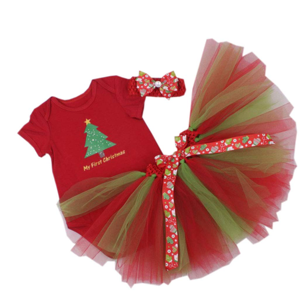 AIKSSOO 3Pcs Infant Baby Girls Christmas Outfit Set Onesie+Tutu Skirt+Headband