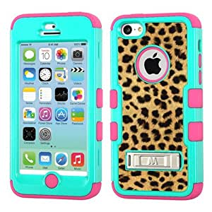 One Tough Shield ? Hybrid 3-Layer Case with Kick-Stand (Teal/Electric Pink) for Apple iPhone 5C - (Cheetah Gold/Black)