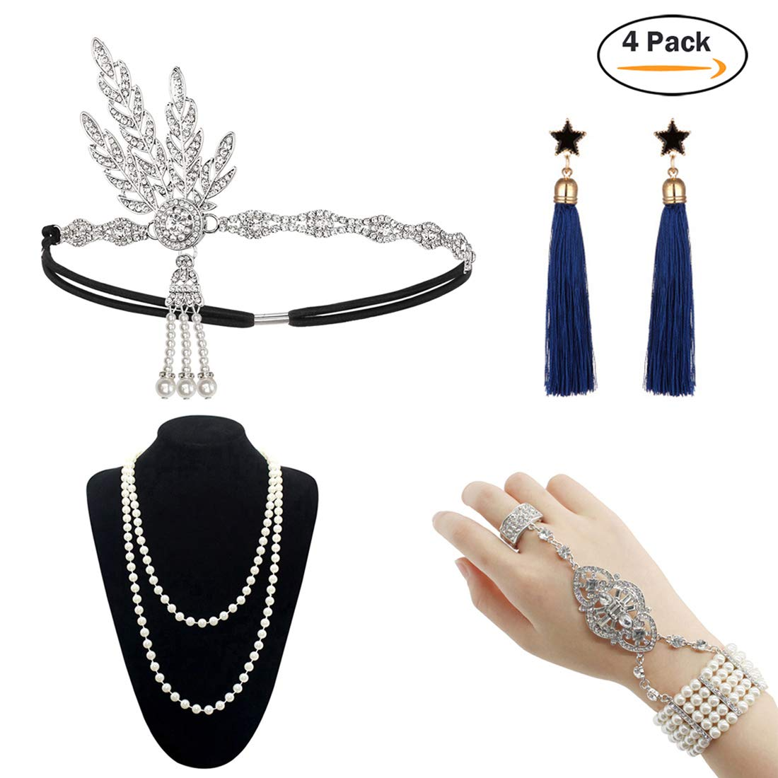 HAMIST 1920s Accessories Set Great Gatsby - for Women Headband Bracelet Pearl Necklace Earring for Party (4Pack-Sliver)