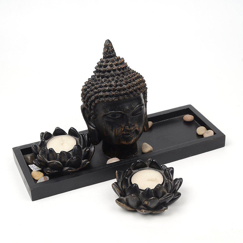 Moylor Testa di Buddha in Resina Status /& Double Lotus portacandela con Vassoio in Legno Zen Garden Set