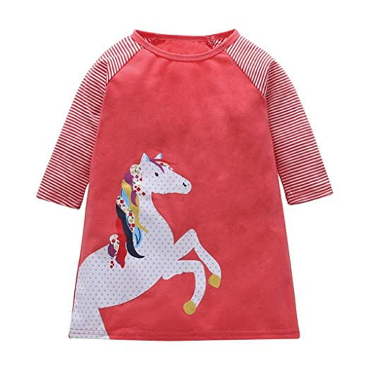1db6fef4eec Amazon.com  SUNBIBE👻Infant Kids Baby Girls Pink Stripe Long Sleeve Rainbow  Horse Print Casual Dresses for Party Outfit Set  Clothing