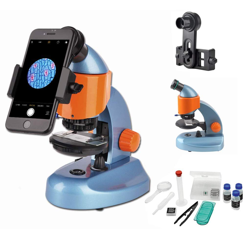 Gosky Microscope for Kids Student Beginner Educational Science Microscope Kit Best Kids Microscope Gift with Smartphone Mount and Slides (40X-200X) by Gosky