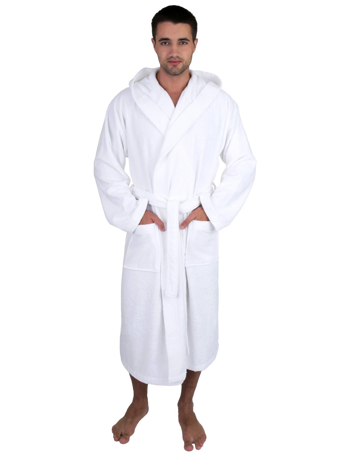 TowelSelections Men's Robe, Turkish Cotton Hooded Terry Bathrobe Small/Medium White