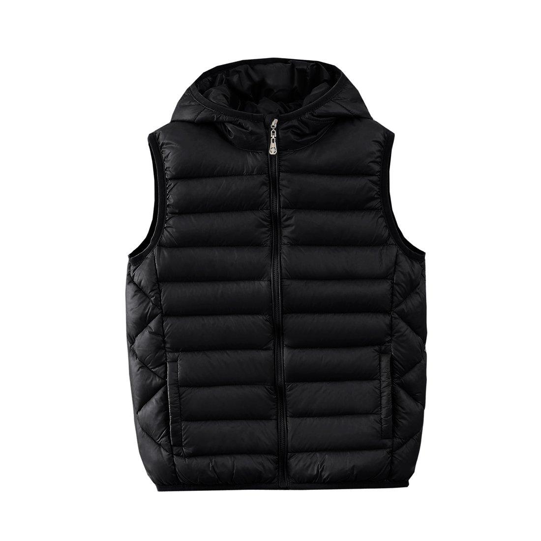 M2C Boys Front Zip Packable Hooded Down Puffer Vest,7/8 Black