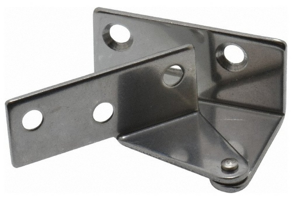 1-7/64'' Long x 1-37/64'' Wide x 1-1/2'' Thick, Plain 430 Stainless Steel, Right Hand Overlay Door Pivot Hinge, 3'' Pin Diam, 6 Holes, 1 Knuckle, 3.9 Lb Capacity, 18'' Leaf Height