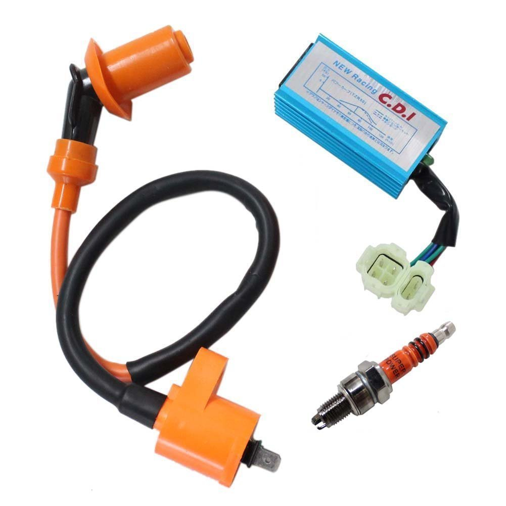 Performance Racking Round Ac Fired 6 Pins CDI, OuyFilters(TM) Ignition coil, Racing 3 Electrode Spark Plug for Chinese 50cc 125cc 150cc Gy6 Moped Scooter Go Kart Taotao