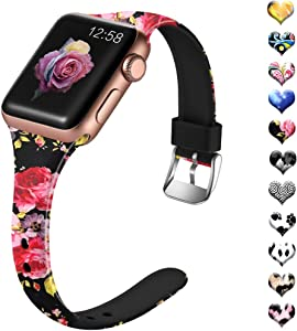 Henva Band Compatible with Apple Watch SE Band 40mm 38mm, Fashion Silicone Thin Wristband with Print Pattern for iWatch Series 6/5, Series 4, Series 3, Series 2, Series 1, Pink Flower Pattern, S/M