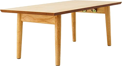 EMOOR Wooden Folding Coffee Table, Rectangle, Natural