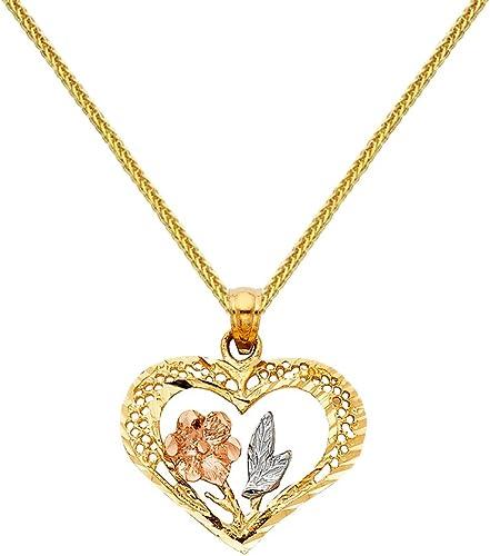 Precious Stars Jewelry Sterling Silver Tri-Tone Heart 18 inch Necklace