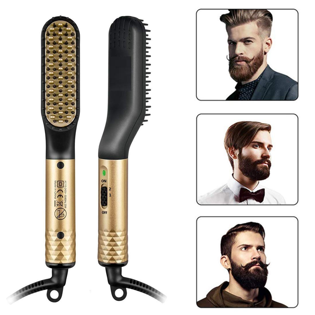 Rozia Beard Straightener Brush for Men -2 in 1 Portable Ionic Hair Straightening Brush