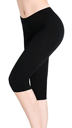 ea7b76adfdc91b CnlanRow Summer Spandex Capris Shorts Cropped Tights Under Dress Capri  Leggings for Women Black