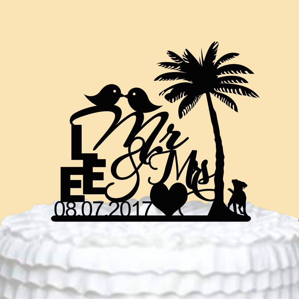 Amazon Palm Tree Wedding Cake Toppers With Kiss Birdswedding