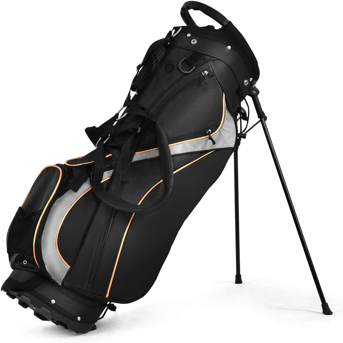 Tangkula Golf Bag 7 Way Divider Light Weight Portable Golf Cart Bag Waterproof Wear-Resistant Durable Fabric Easy Carry Space Saving Womens Mens Golf Stand Bag, Black : Sports & Outdoors