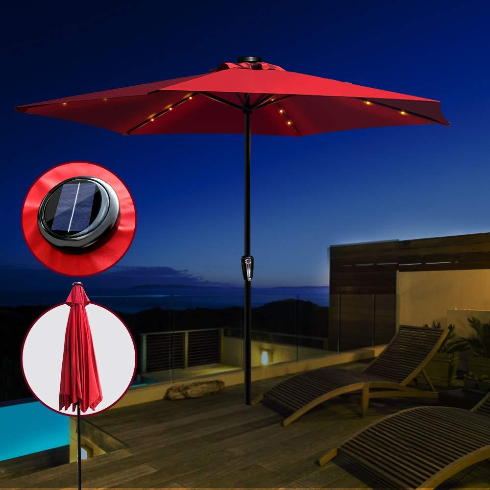 Masthome 3 m Esterno ombrellone ombrellone da Giardino con luci LED a energia Solare con inclinazione