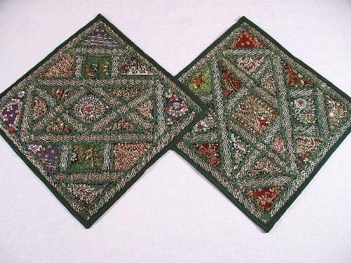 (Green Embellished Kundan Beaded 2 Indian Sari Designer Throw Toss Pillow Cushion Covers - 16 Inch X 16 Inch)