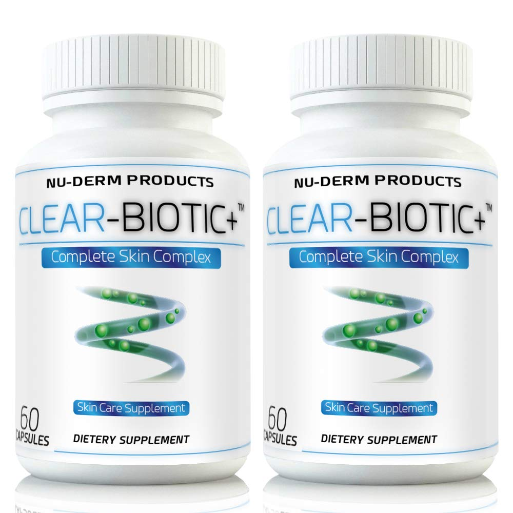 Clear Biotic 20.1 gm [2 pk] Acne Vitamins Pills Acne Supplements Treatment for Acne W Powerful Acne Vitamins A E C & B2 Treats Acne Improves Complexion Giving Your Skin a Radiant Glow