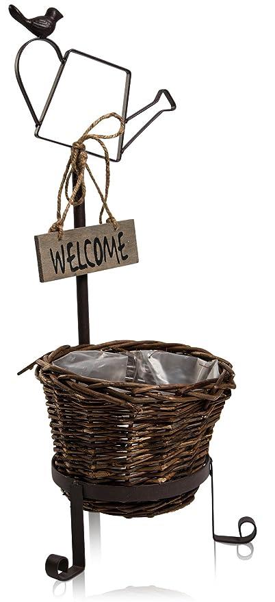 chiccie cesta para plantas con cartel de bienvenida y regaderas ...