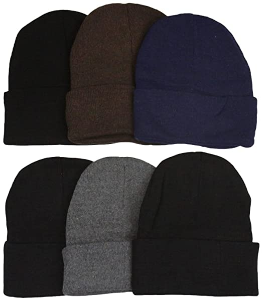 ToBeInStyle Men s Pack of 6 Double Layered Beanies - Assorted Colors ... 9484d288c661