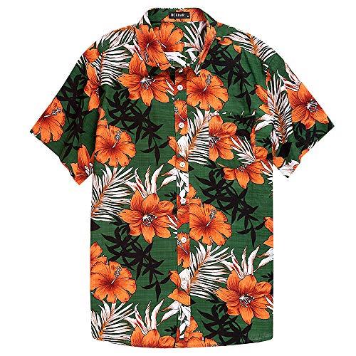 MCEDAR Men's Hawaiian Short Sleeve Shirt Aloha Flower Print Casual Button Down Beach Shirts (L, Flower Green)