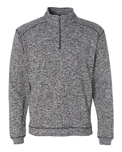 (J. America Mens 1/4 Zip Pullover Sweatshirt-8614-X-Large-Charcoal Fleck)