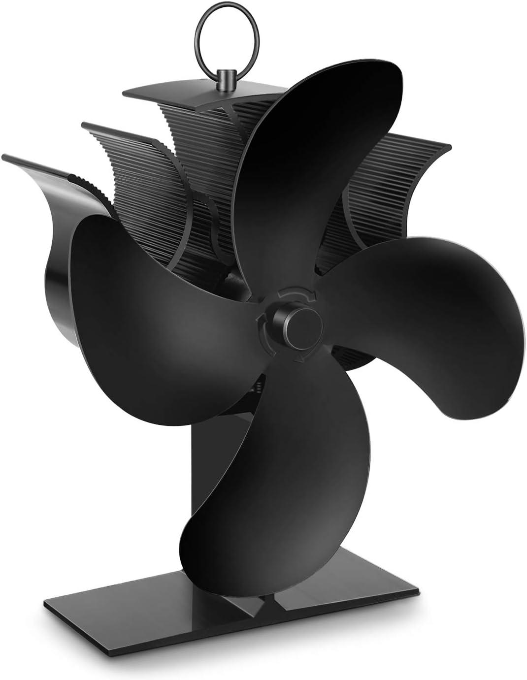 Ventilador de Estufa PAIPU, Ventilador de Chimenea con Termómetro, 35-45S Inicio Rápido y Cuatro Veces la Velocidad de Circulación del Aire, Para Estufas, Estufas de Leña y Chimeneas