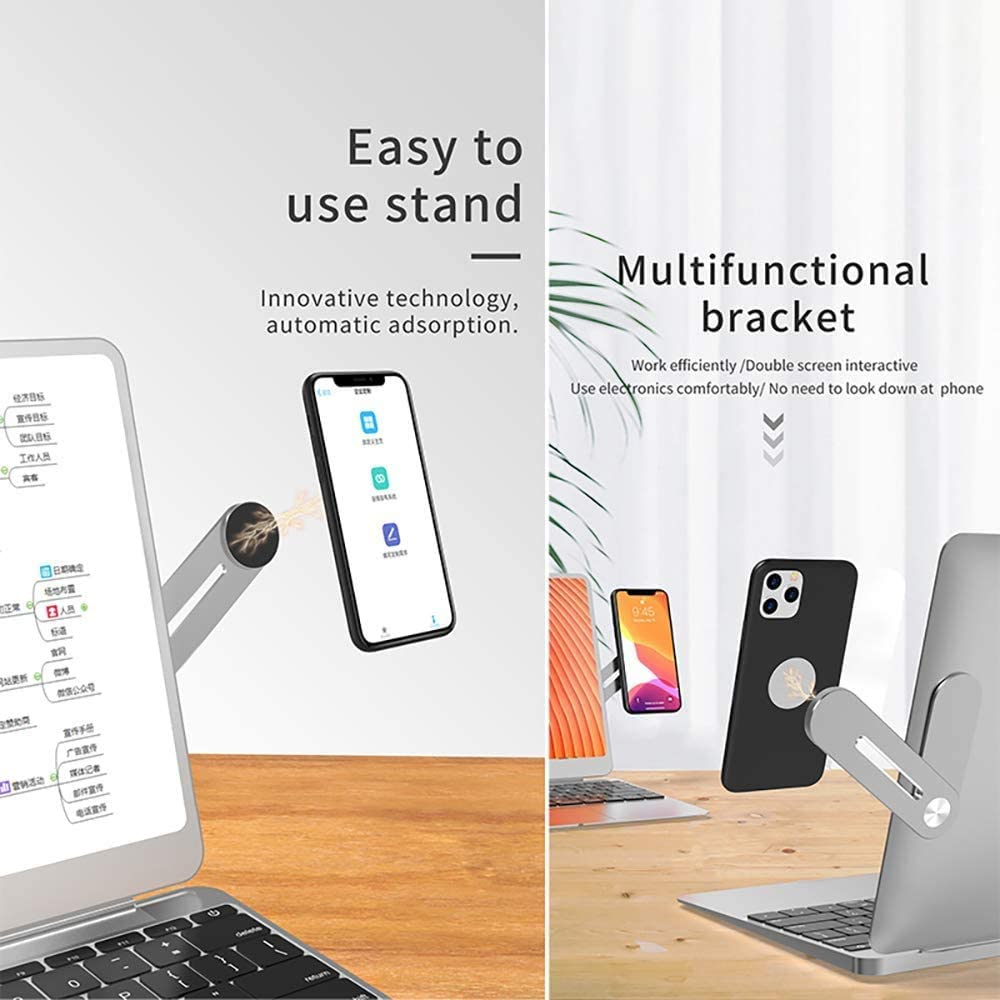 Laptop Side Mount Clip On Monitor Magnetic Laptop Stand with Phone Holder Computer Expansion Bracket for iPhone Smartphone Cellphone Fixed Flat and Slim Safty(Silver)