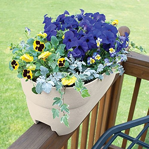 DermaPAD Adjustable Over the Railing Planter Outdoor Planting Box - 24'' - WHITE